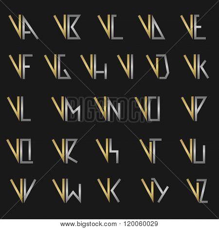 Letter V with alphabet