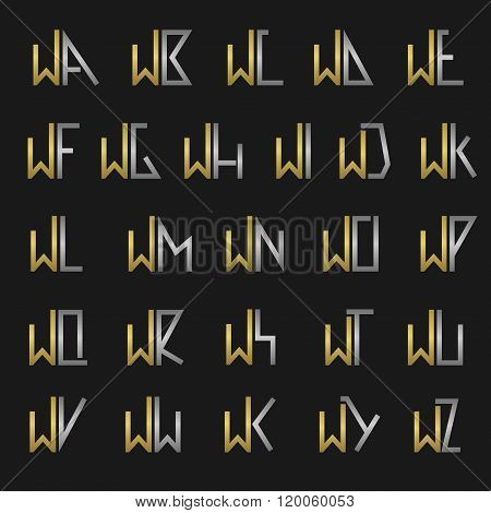Letter W with alphabet