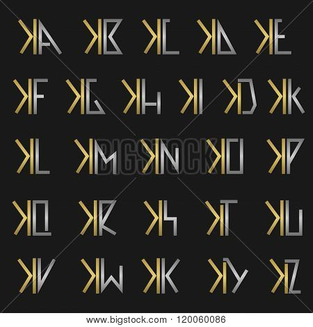 Letter X with alphabet