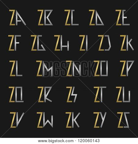 Letter Z with alphabet