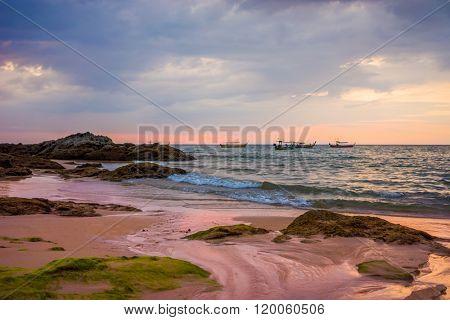 Sunset on Khao Lak beach in Thailand