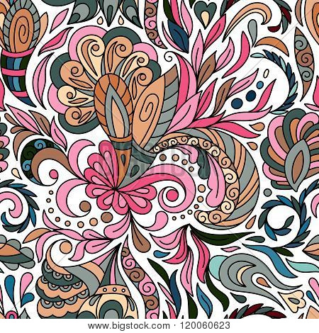 Beautiful floral paisley seamless pattern. Pastel biege blue pink background.