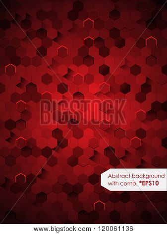 Abstract Background with honeycomb (Red). Vector