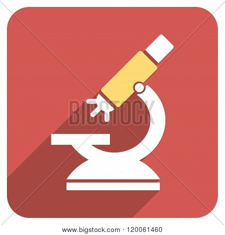 Labs Microscope Flat Rounded Square Icon with Long Shadow
