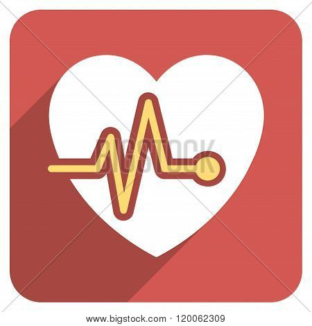 Heart Pulse Flat Rounded Square Icon with Long Shadow