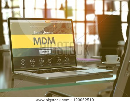 Laptop Screen with MDM Concept.