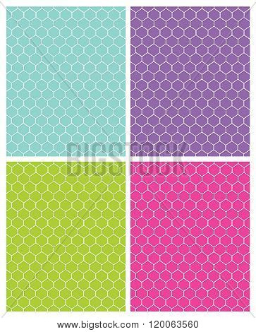 Vector colorful and contemporary honeycomb pattern set