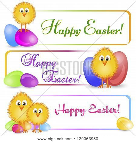 Colorful Banners With Easter Chicken And Painted Eggs