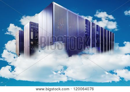 Computer  in a cloudy sky as a symbol for cloud-computing