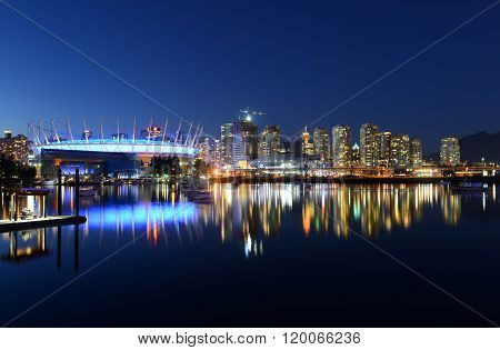 Vancouver City skyline at night