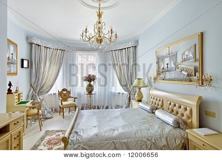 Classic Style Luxury Bedroom Interior In Blue And Silver Colors