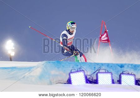 STOCKHOLM SWEDEN - FEB 23 2016: Manfred Moelgg (ITA) skiing at the FIS Alpine Ski World Cup - city event February 23 2016 Stockholm Sweden