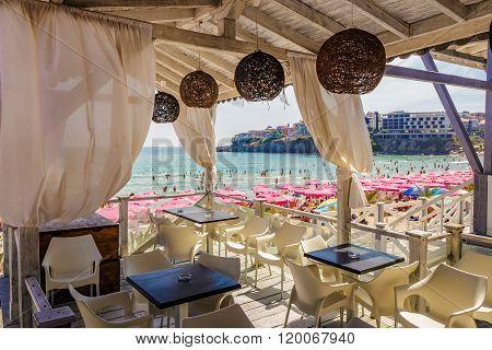 Empty Cafe  Terrace Near The Sea Beach