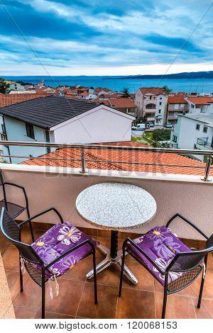 Balcony With View Of Roofs,sea-baska Voda,croatia