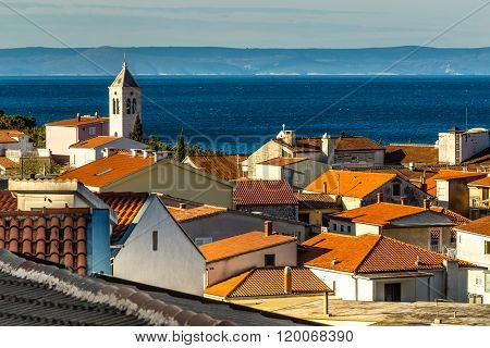 Red Roofs,church Tower,sea,brac-baska Voda,croatia