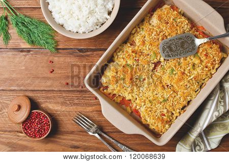 Oven-roasted Fish Fillet With Carrots Under A Bread Crust