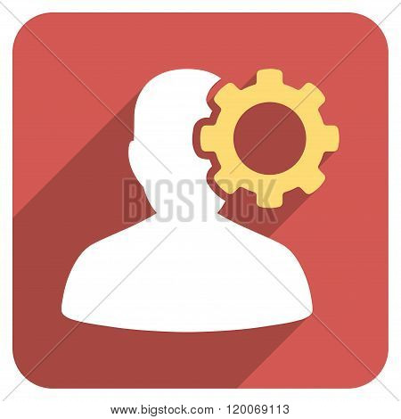 Migraine Flat Rounded Square Icon with Long Shadow