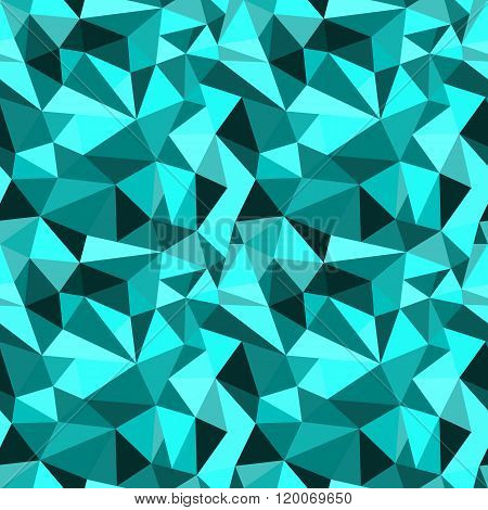 Vector Seamless Turquoise Abstract Geometric Rumpled Triangular Graphic Background. Digital Vector I