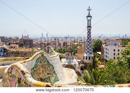 Parc Guell designed by Antoni Gaudi Barcelona, Spain.