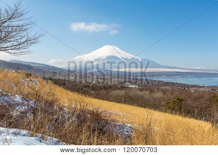 Aerial panorama view point of Mount Fuji at Yamanaka Lake in Winter