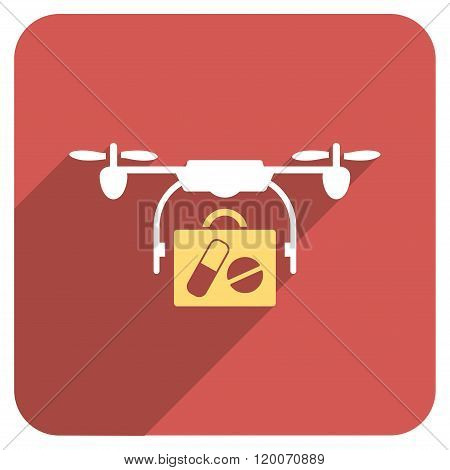 Medical Drone Shipment Flat Rounded Square Icon with Long Shadow