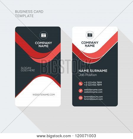 Creative And Clean Business Card Vector Print Template. Vertical Business Card Template. Flat Style