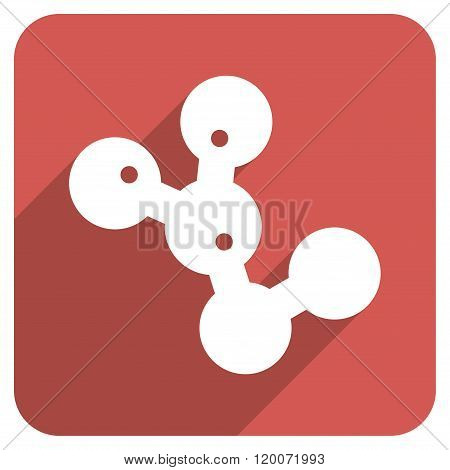 Microbes Colony Flat Rounded Square Icon with Long Shadow