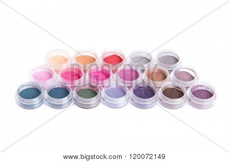 Vibrant mineral eyeshadows, isolated on white background with natural shadow