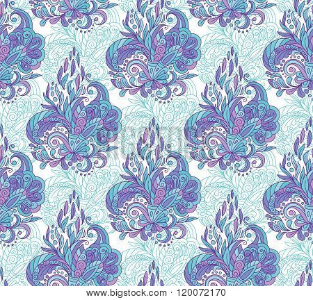 Seamless pattern with mehendi elements. Vintage background in indian batik style. Floral vector illustration in blue tone.