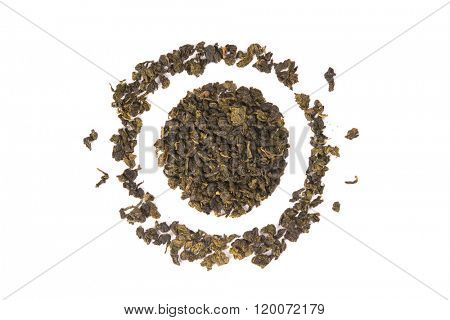 Tie Guan Yin Oolong tea, high angle view isolated on white background