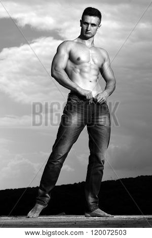 Young Man With Muscular Figure