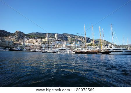 Sailing Yachts In Port Of Monte Carlo