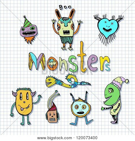 Funny monsters characters. Doodle set. Vector handdrawn Illustration. Coloring page.