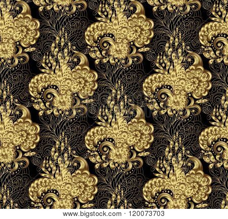 Illustration golden seamless floral background, pattern for continuous replicate - vector. Gold on black.