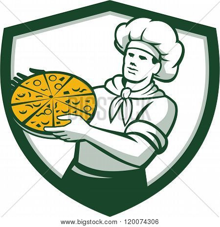 Pizza Chef Holding Pizza Shield Retro
