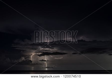 Lightning Strike Over The Sea