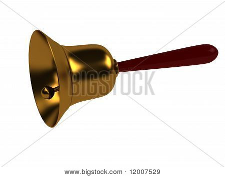 3D school bell on white