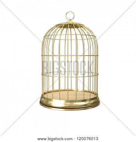 3d golden birdcage on white background