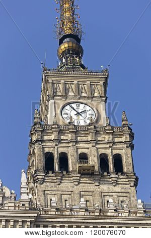 Clock On The Palace Of Culture And Science