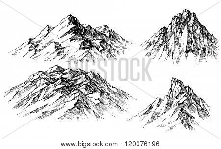 Mountain set. Isolated mountain peaks vector