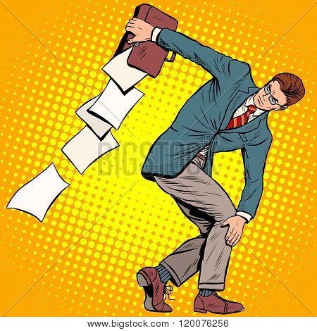 businessman discus thrower
