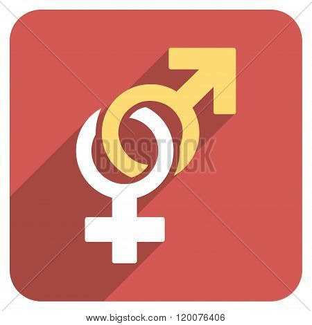 Sexual Symbols Flat Rounded Square Icon with Long Shadow