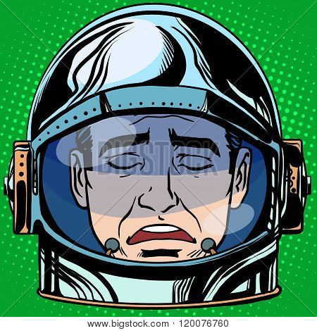 emoticon sadness Emoji face man astronaut retro