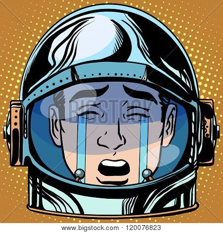 emoticon tears roar Emoji face man astronaut retro