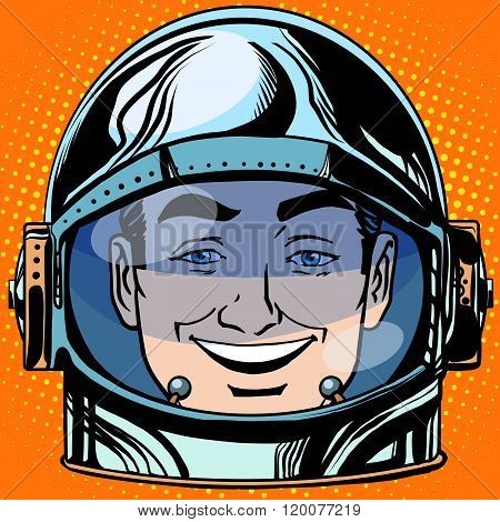 emoticon joy laughter Emoji face man astronaut retro
