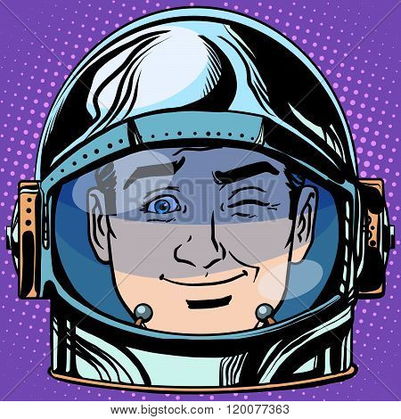 emoticon wink Emoji face man astronaut retro