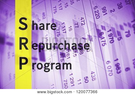 Acronym SRP as Share Repurchase Program. Financial data visible on the background.
