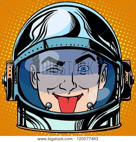 emoticon tongue Emoji face man astronaut retro