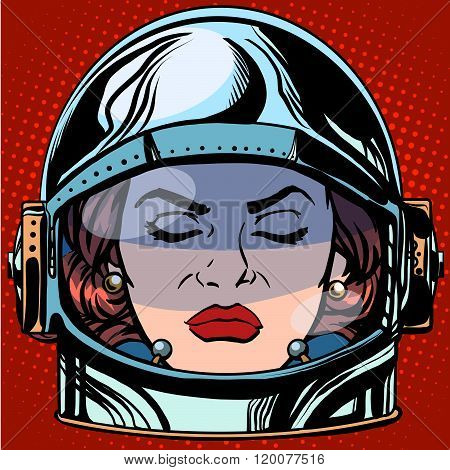 emoticon anger Emoji face woman astronaut retro