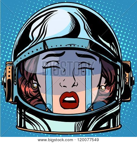 emoticon cry Emoji face woman astronaut retro